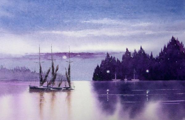 Moonlight over Lakes by David Coy by David Coy