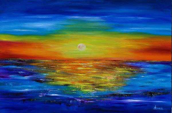 Original Beach Abstract Painting,Large Sky And Sea Painting,Large Ocean Canvas Painting, by Florentina(anca)  popescu