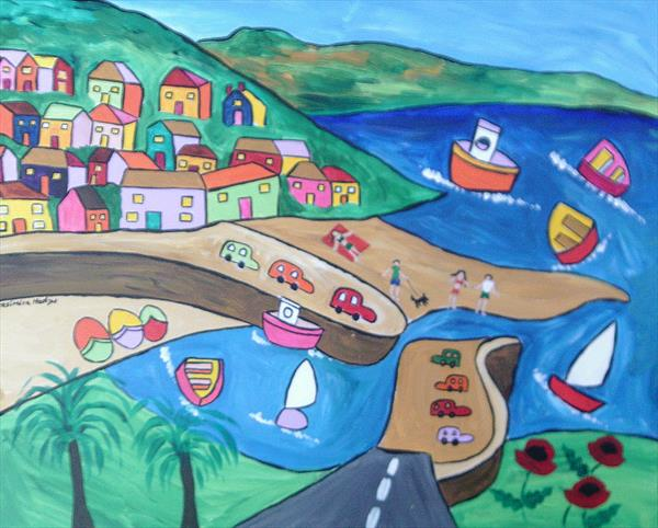 Colourful Naive painting of Mousehole Harbour 3 by Casimira Mostyn