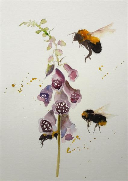 Three bees and foxgloves by Teresa Tanner