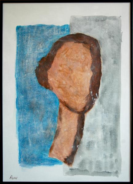 Original minimalist abstract portrait painting. Silhouette. Framed. by Rumen Spasov