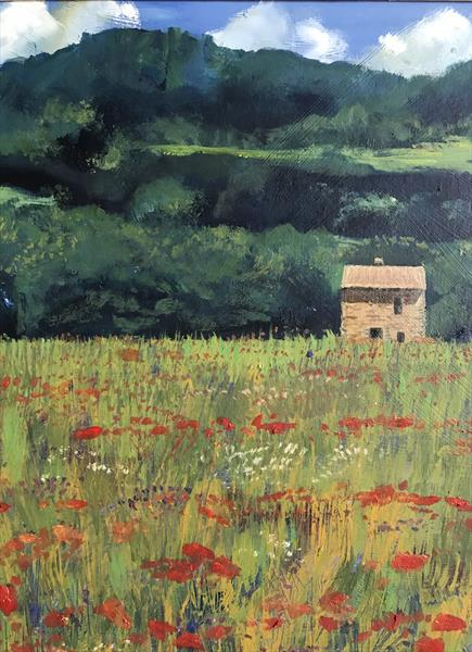 French Poppies ( framed original oil ) by Sarah Gill