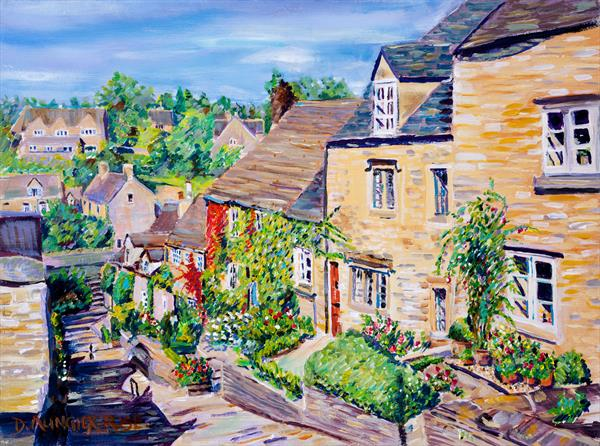 LOOKING DOWN THE CHIPPING STEPS, TETBURY by Diana Aungier - Rose