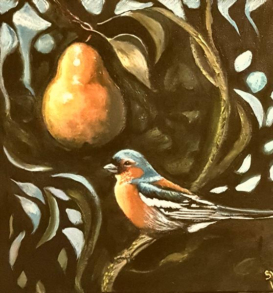 Chaffinch With Pear by Shirley Wright
