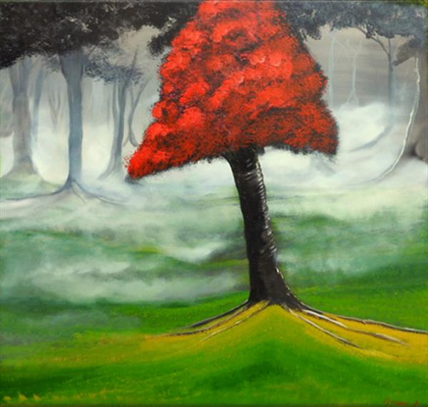 The Red Blossom Tree (Very large box canvas) by John Morris