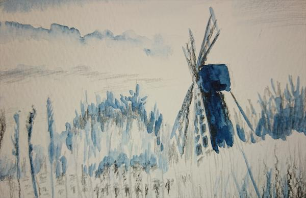 Windmill in the morning mist Winsor & Newton Artist watercolour paper A5 by Elena Haines