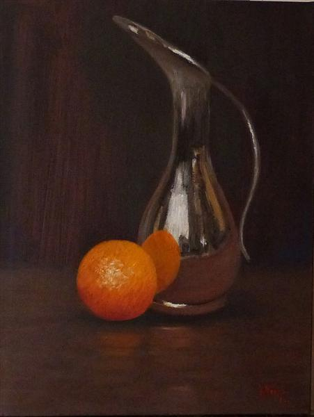 Orange With Silver Jug