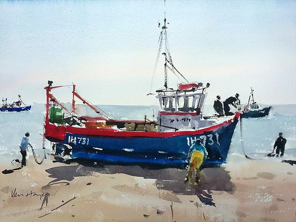 Beached Trawler by Ken  Hayes