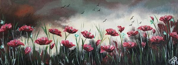 Poppies under a heavy sky by Marja Brown