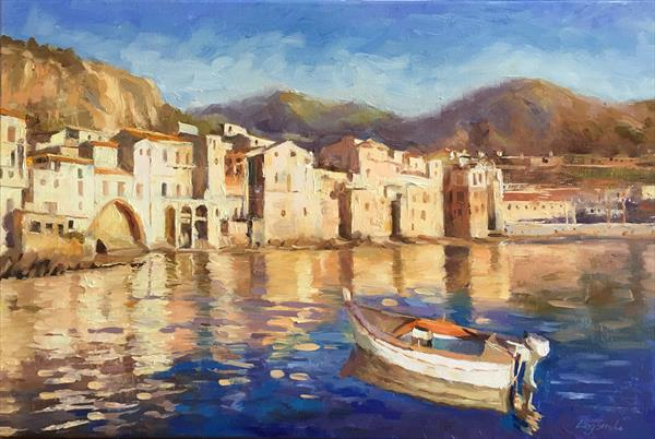 Cefalu, Sicily in Golden Light by Ling Strube