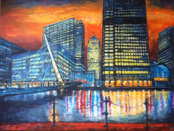 Bridge to Canary Wharf, London(Large Painting) by Patricia Clements
