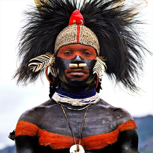 Man from Kutubu. Portrait of a Warrior. Papua New Guinea. 1972 by Peter Bowater
