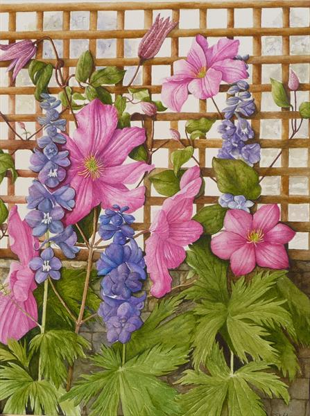 Pink Clematis and Delphiniums by Susan Prothero