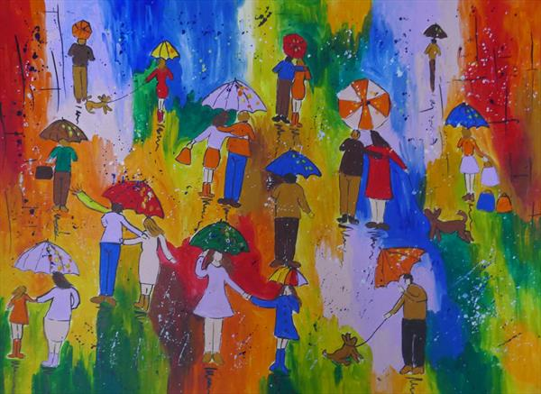 A Splash of Colour, Umbrella Painting by Casimira Mostyn
