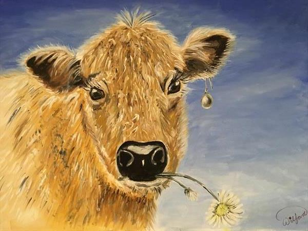 Cow with the Pearl Earring by KIM WILFORD