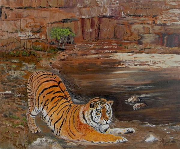 Tiger Scene by Alice P Jenkins