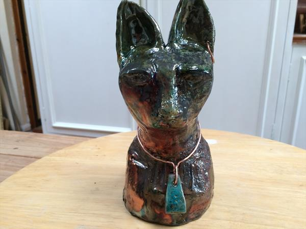 Tomb Cat ~ Raku fired ceramic figure with copper earring and necklace by Maxine Martin