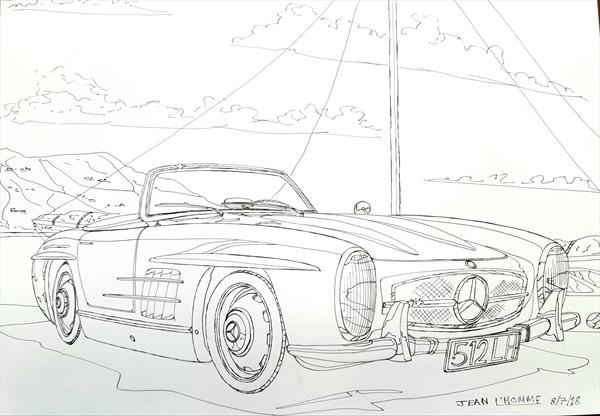 1956 Mercedes-Benz 300SL Convertible  by Jean L'Homme