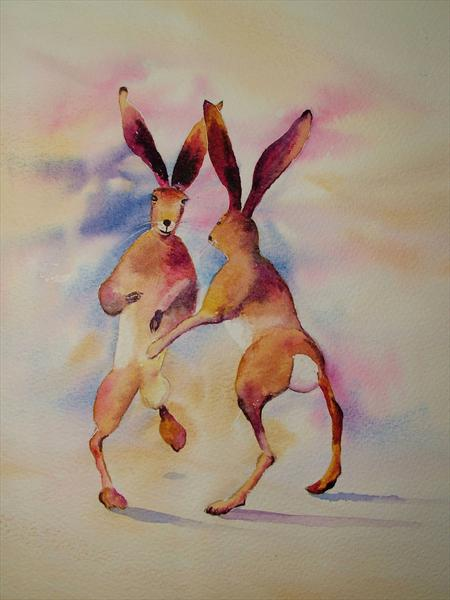 Boxing Hares by Ricky Figg