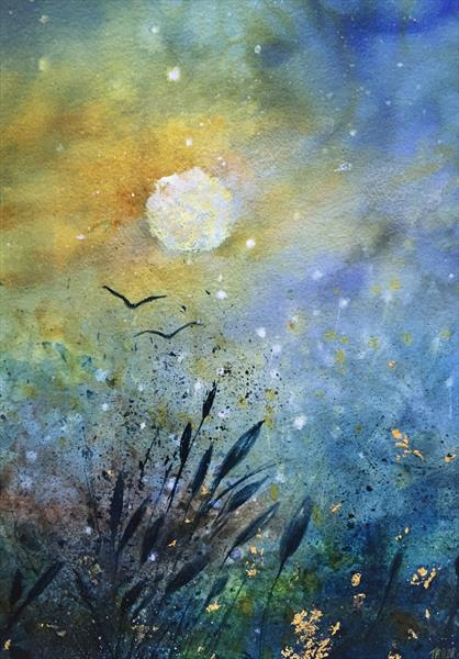 Last Light - Original Golden Moon Watercolour - Encrusted with 24ct Gold Leaf - ORIGINAL by Jennifer Taylor