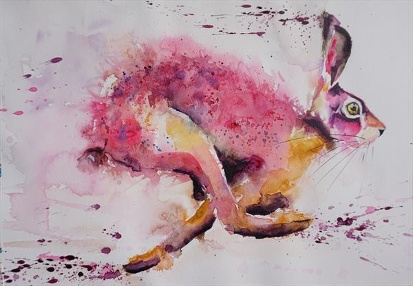 "Hotfoot in Pink 16.5"" x 12"" by Anna Pawlyszyn"