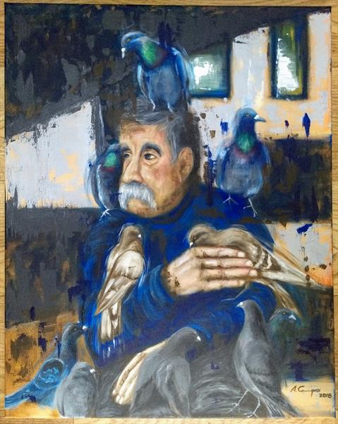 The man with the pigeons by Alba Campos-Vazquez