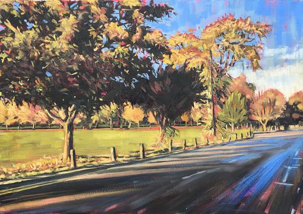 Bellevue Road autumn trees, Wandsworth Common by Louise Gillard