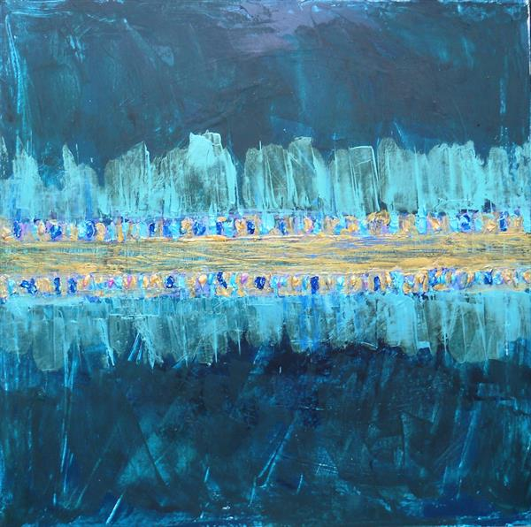Abstract In Teal And Gold  by Maxine Martin
