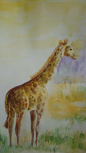 Giraffe in the morning mist by Elena Haines