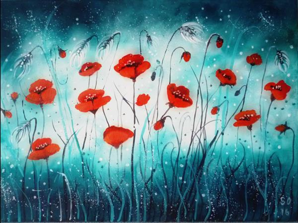 [Sold]  Harmony Poppies  by Super Cosmic