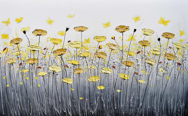 Yellow Burst of Poppies and Butterflies by Amanda Dagg