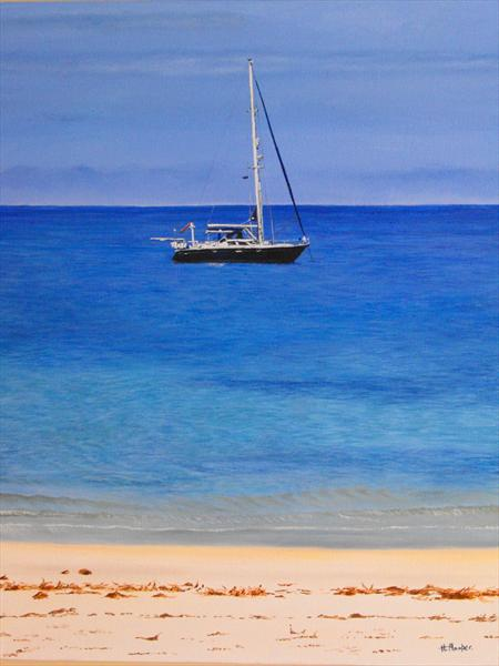 Yacht At Anchor by Helen Hooper