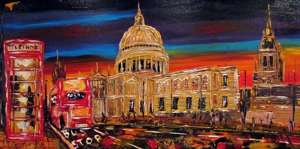 St Pauls, London Bus & Telephone box by Night