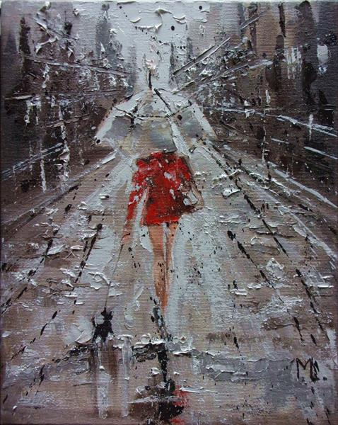 """"""" WITH A LITTLE FRIEND ... """" original painting CITY palette knife (2018)"""