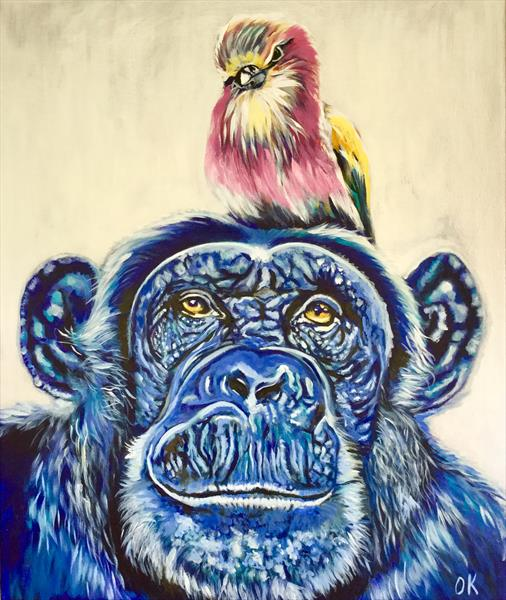 Best friends forever. Bird and chimpanzee. Animal painting.  by Olga  Koval