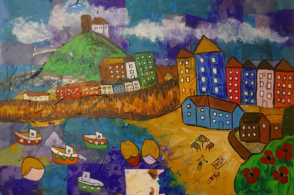 Naive view of Tenby, Pembrokeshire by Casimira Mostyn