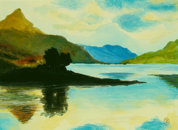 The Magic of Glenfinnan, a small artwork, Scottish landscape by Ria Janta-Cooper