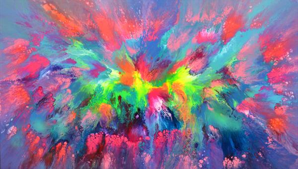 140x80x4 cm Large Ready to Hang Abstract Painting - XXXL Huge Colourful Modern Abstract Big Painting by Soos Tiberiu - Anton