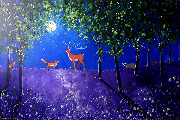 Full Moon in the Bluebell Wood by Angie Livingstone