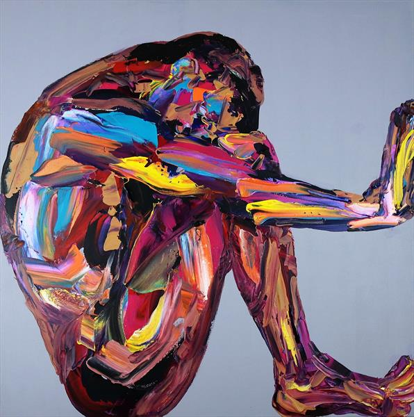 Yoga Nude in a Box Abstract 603 by Eraclis Aristidou