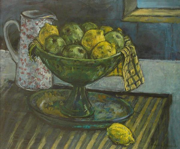 Lemons in Pottery Bowl by Patricia Clements