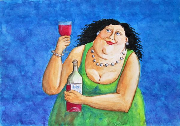 All Mine. Wine and a Woman. by Marjan's Art