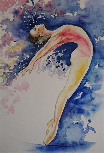 Ballet dancer on the point light shade Winsor & Newton Professional Water Colour Oil & Acrylic paint by Elena Haines