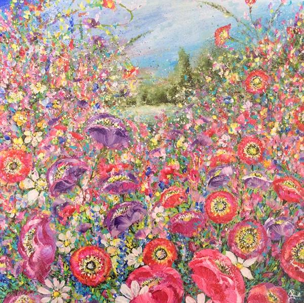 Crimson and Violet Poppy Meadow  by Janice  Rogers
