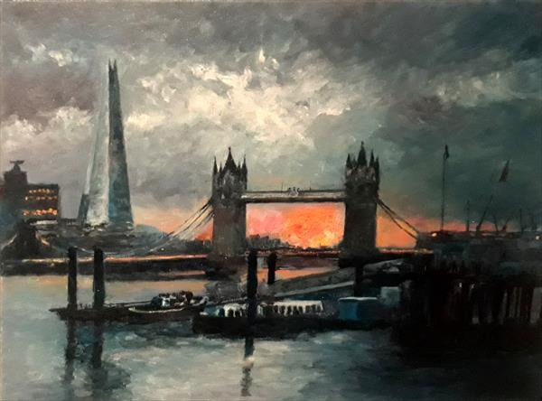 Tower Bridge and Shard sunset