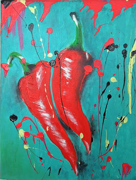 Red Chili Peppers by Anna Maria Ratusz