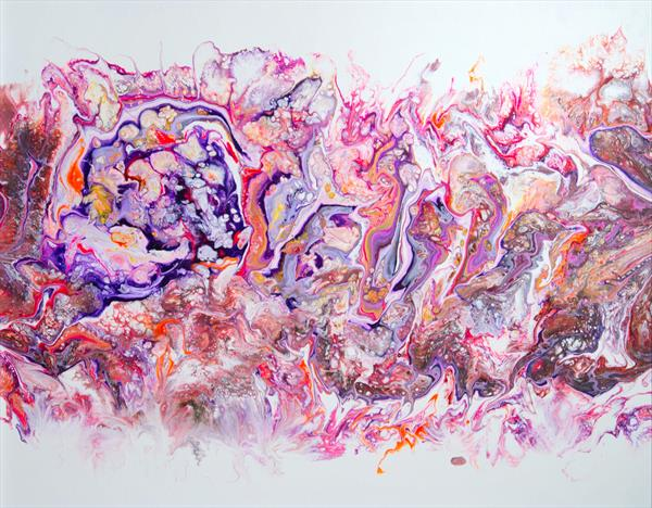 Abstract acrylic pouring composition in pink by Inna Stone