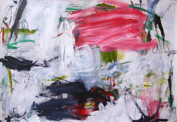 Circus #1   large abstract   70 x 100 cm   pink green white black   XL