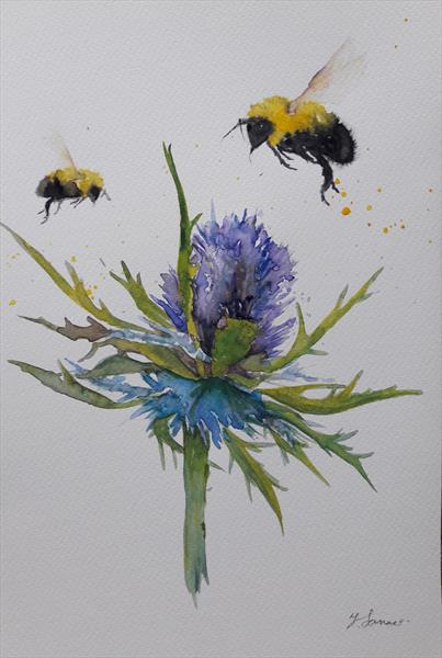 Bees & Scottish Thistle by Teresa Tanner