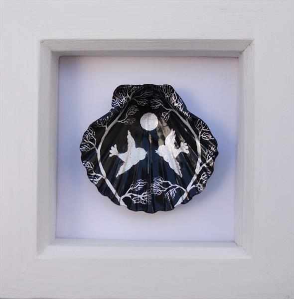 Birds and Moon - Framed Shell by Claudine Peronne
